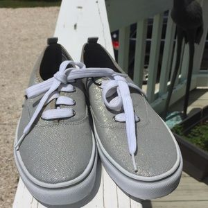 Size 10 silver lace up shoes